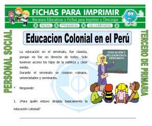 Educacion Colonial para Tercero de Primaria