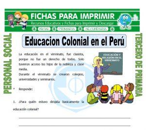 Ficha de Educacion Colonial para Tercero de Primaria