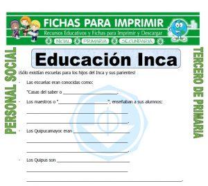 Ficha de Educacion Inca para Tercero de Primaria