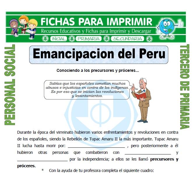 Ficha de Emancipacion del Peru para Tercero de Primaria