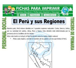 Ficha de Mapa del Peru y sus Regiones para Tercero de Primaria