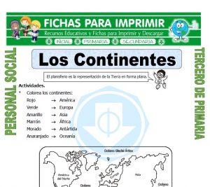 Ficha de Nombre de los Continentes para Tercero de Primaria