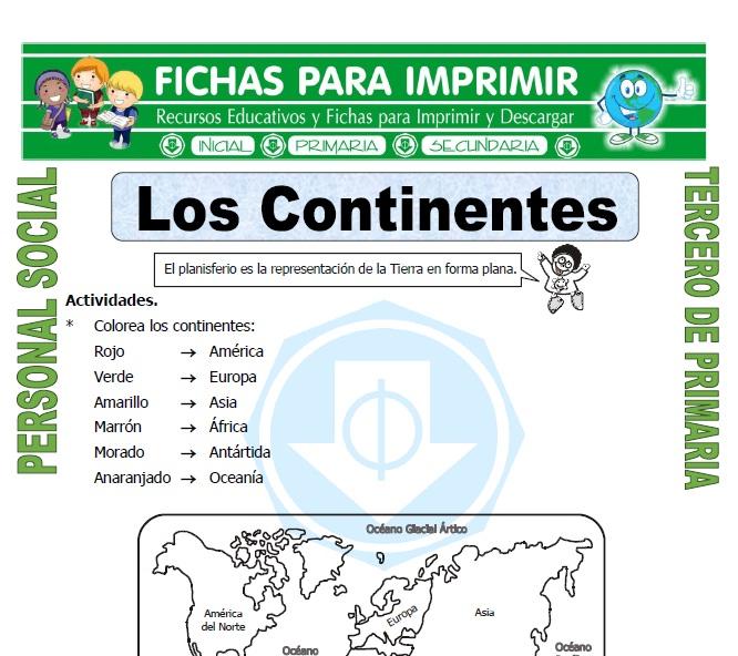 Nombre de los Continentes para Tercero de Primaria - Fichas para ...
