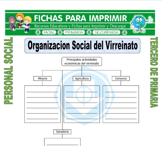 Ficha de Organizacion Social del Virreinato para Tercero de Primaria