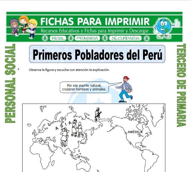 Ficha de Primeros Pobladores del Peru para Tercero de Primaria
