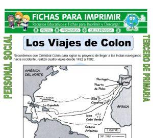 Ficha de Viajes de Colon para Tercero de Primaria