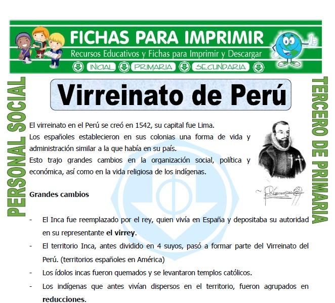 Ficha de Virreinato de Peru para Tercero de Primaria