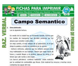 ficha de Campo Semantico para Tercero de Primaria