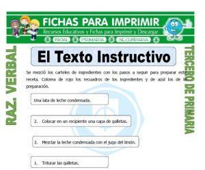 ficha de El Texto Instructivo para Tercero de Primaria