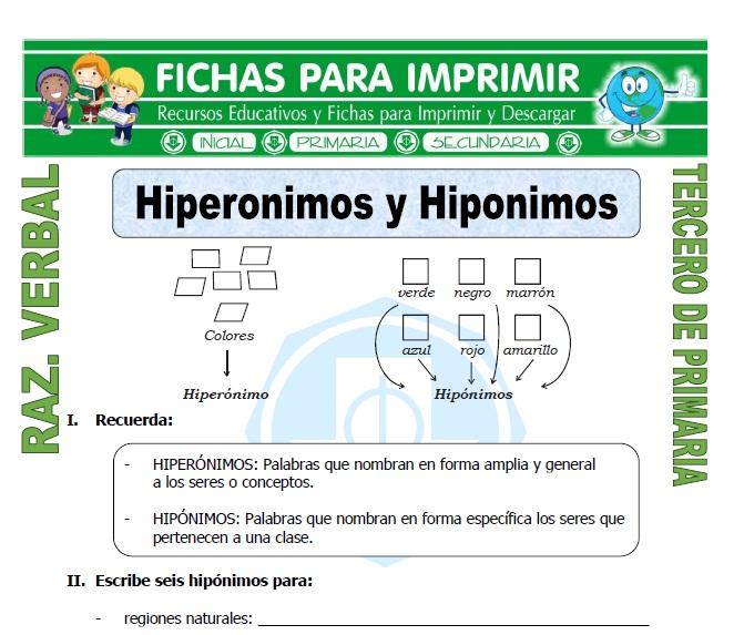 ficha de Hiperonimos y Hiponimos para Tercero de Primaria