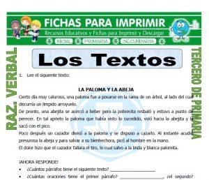 ficha de Los Textos para Tercero de Primaria