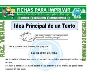 Que es la Idea Principal de un Texto para Tercero de Primaria
