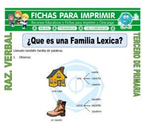 ficha de Que es una Familia Lexica para Tercero de Primaria