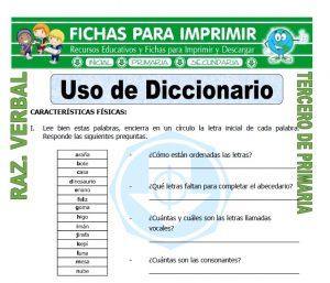 ficha de Uso de Diccionario para Tercero de Primaria