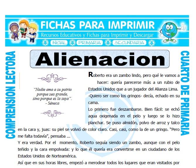 Ficha de Alienacion para Cuarto de Primaria