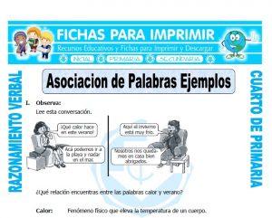 ficha de Asociacion de Palabras Ejemplos para Cuarto de Primaria