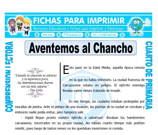 Ficha de Aventemos al Chancho para Cuarto de Primaria