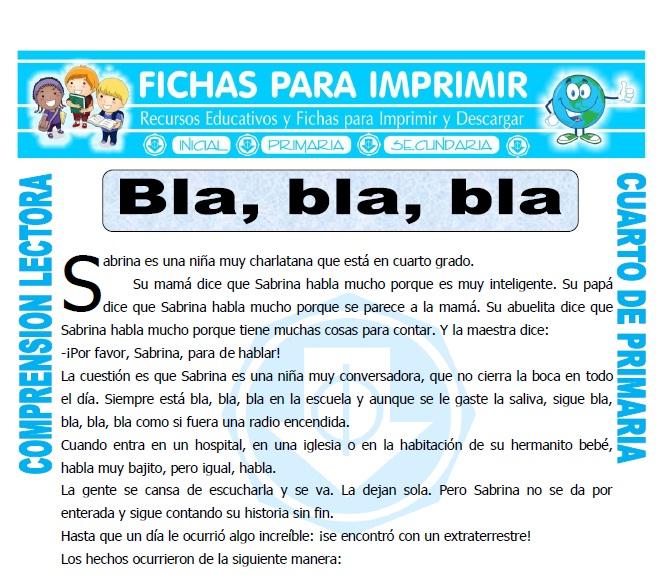Ficha de Bla, bla, bla para Cuarto de Primaria