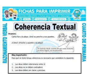 ficha de Coherencia Textual para Cuarto de Primaria
