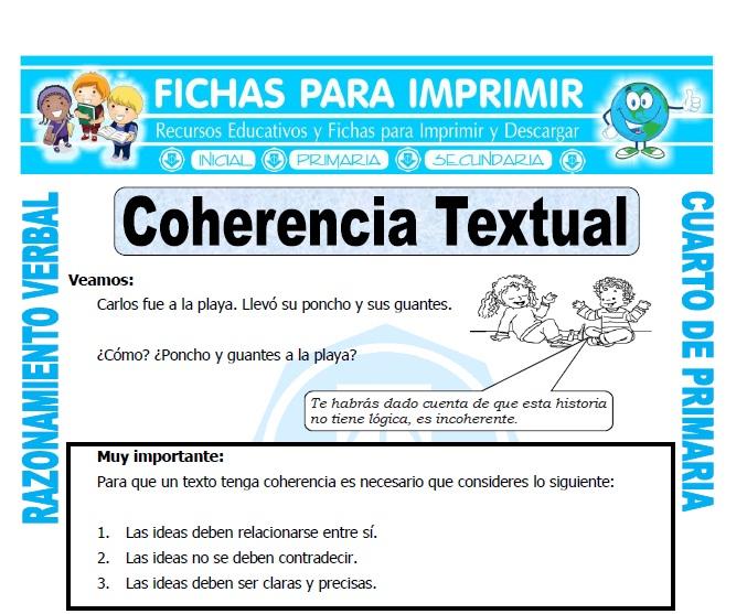 Coherencia Textual Para Cuarto De Primaria Fichas Para Imprimir