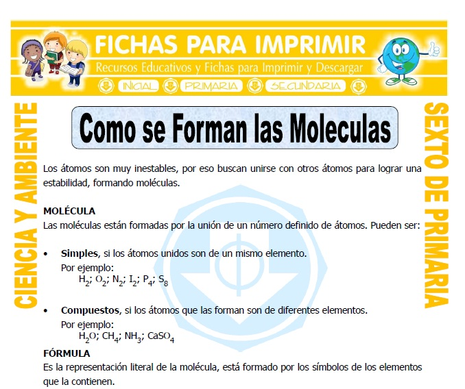 Ficha de Como se Forman las Moleculas para Sexto de Primaria