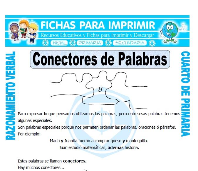 Conectores de Palabras para Cuarto de Primaria - Fichas para Imprimir