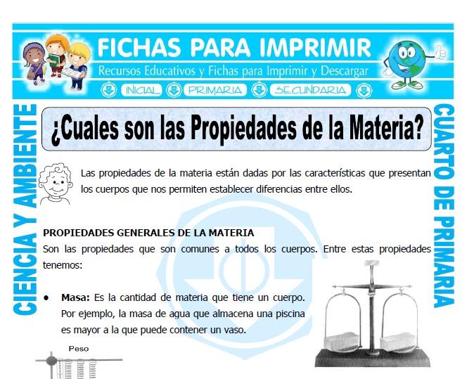 ficha de Cuales son las Propiedades de la Materia para Cuarto de Primaria