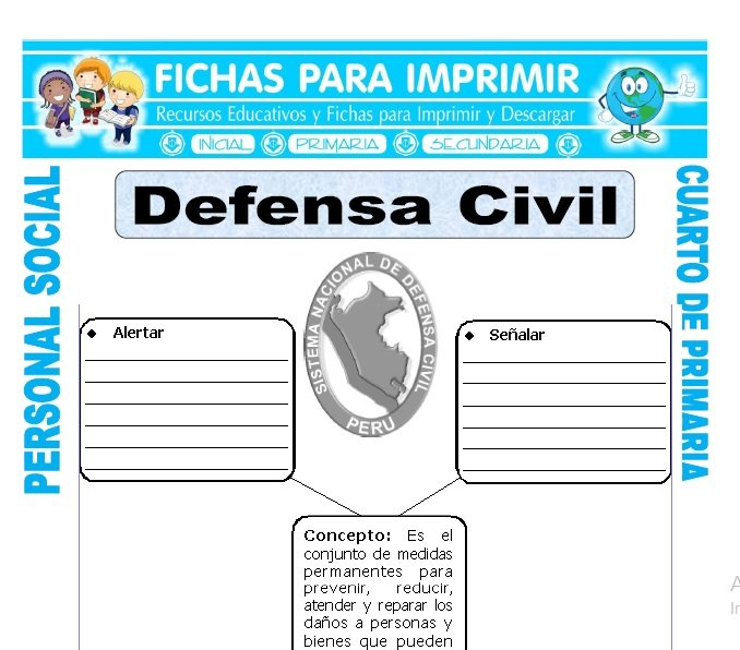 ficha de Defensa Civil para Cuarto de Primaria