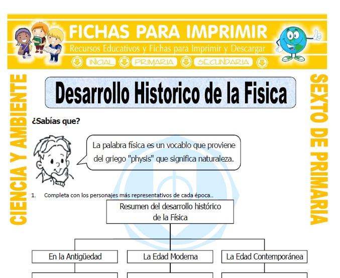 Ficha de Desarrollo Historico de la Fisica para Sexto de Primaria