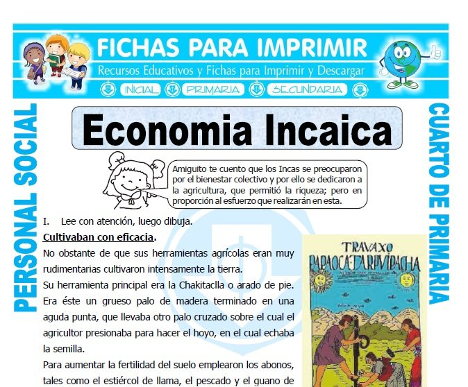 ficha de Economia Inca para Cuarto de Primaria