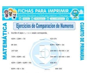 ficha de Ejercicios de Comparacion de Numeros para Cuarto de Primaria