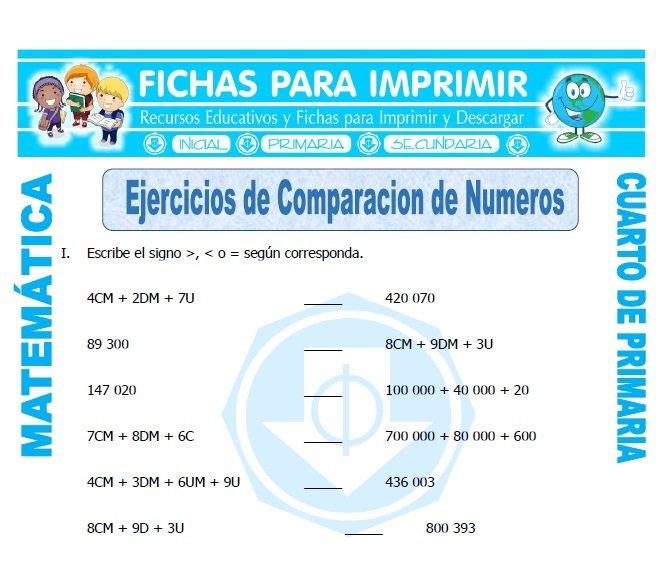 Ejercicios de Comparacion de Numeros Primaria - Fichas para Imprimir