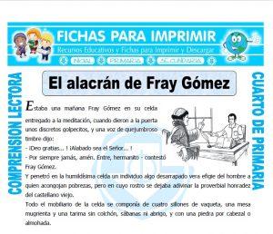 Ficha de El Alacran de Fray Gomez para Cuarto de Primaria