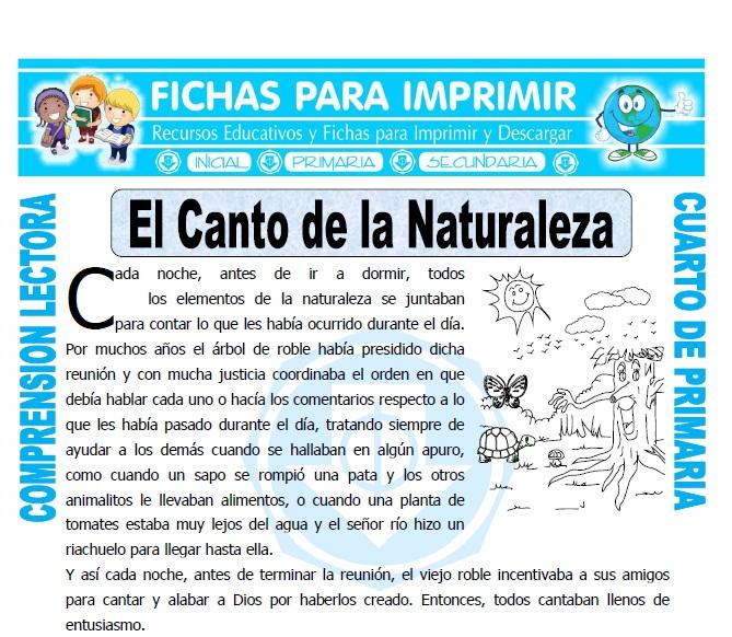 Ficha de El Canto de la Naturaleza para Cuarto de Primaria