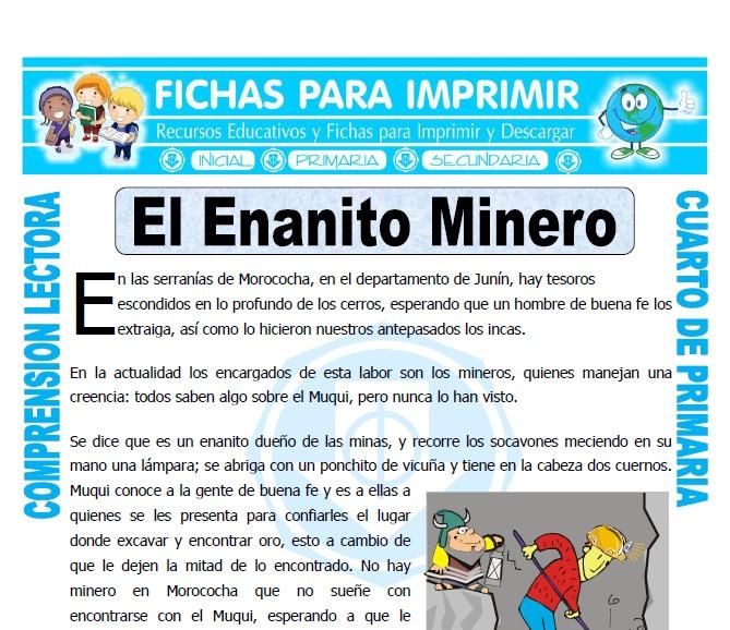 Ficha de El Enanito Minero para Cuarto de Primaria