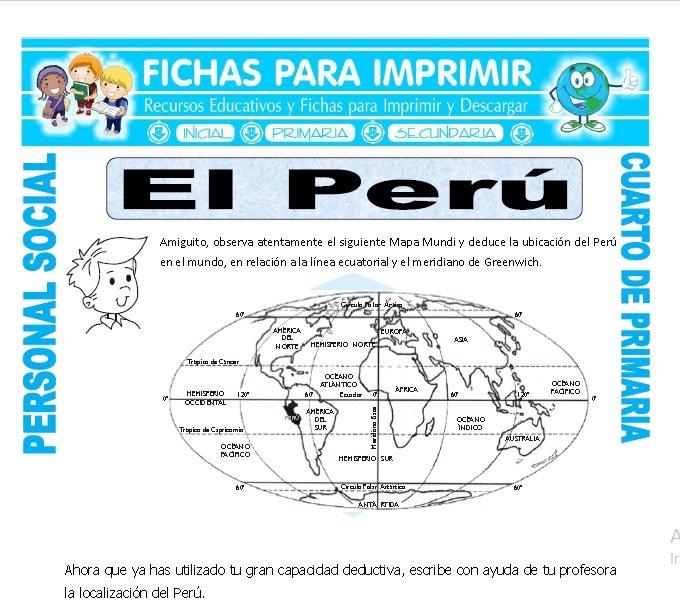 El Peru para Cuarto de Primaria - Fichas para Imprimir