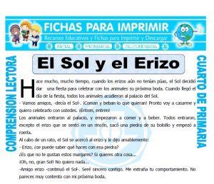 Ficha de El Sol y el Erizo para Cuarto de Primaria