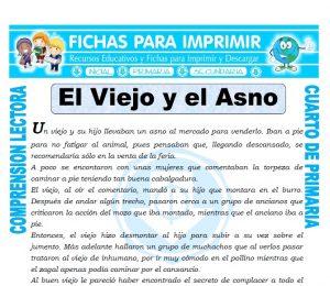 Ficha de El Viejo y el Asno para Cuarto de Primaria