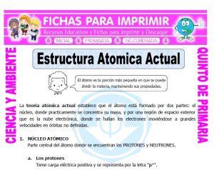 Ficha de Estructura Atomica Actual para Quinto de Primaria