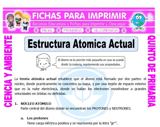 Estructura Atomica Actual Para Quinto De Primaria Fichas