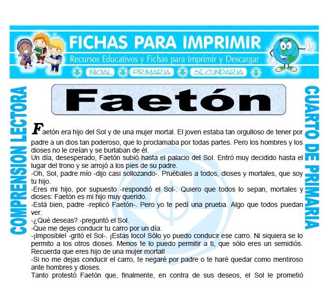Ficha de Faeton para Cuarto de Primaria