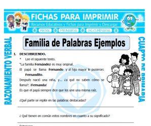 Familia de Palabras EjemplosCuarto de Primaria