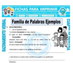 ficha de Familia de Palabras Ejemplos para Cuarto de Primaria