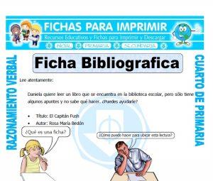 ficha de Ficha Bibliografica para Cuarto de Primaria