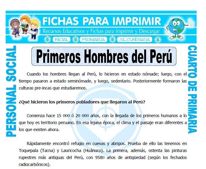 ficha de Habitantes de Peru para Cuarto de Primaria