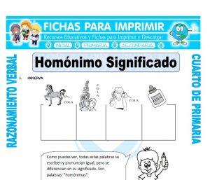 ficha de Homónimo Significado para Cuarto de Primaria