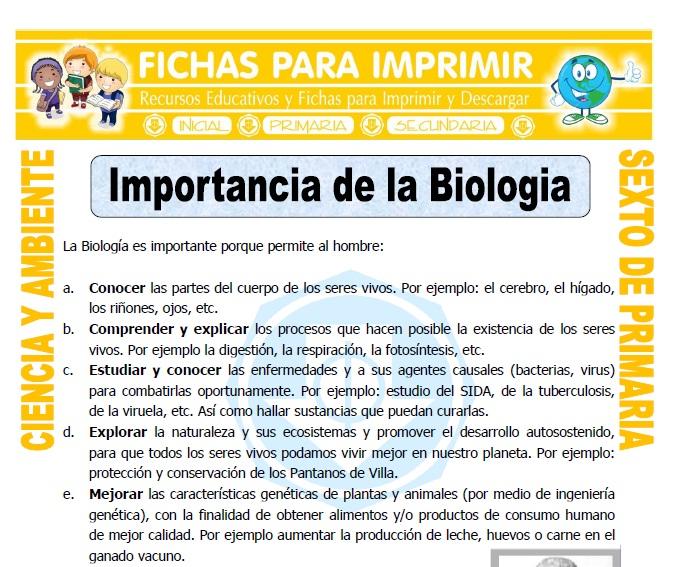 Ficha de Importancia de la Biologia para Sexto de Primaria
