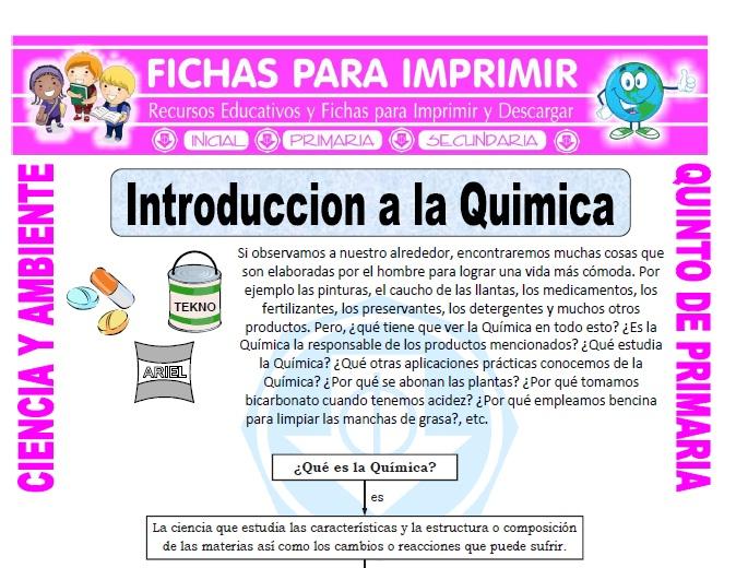 Ficha de Introduccion a la Quimica para Quinto de Primaria