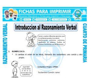 ficha de Introduccion al Razonamiento Verbal para Cuarto de Primaria