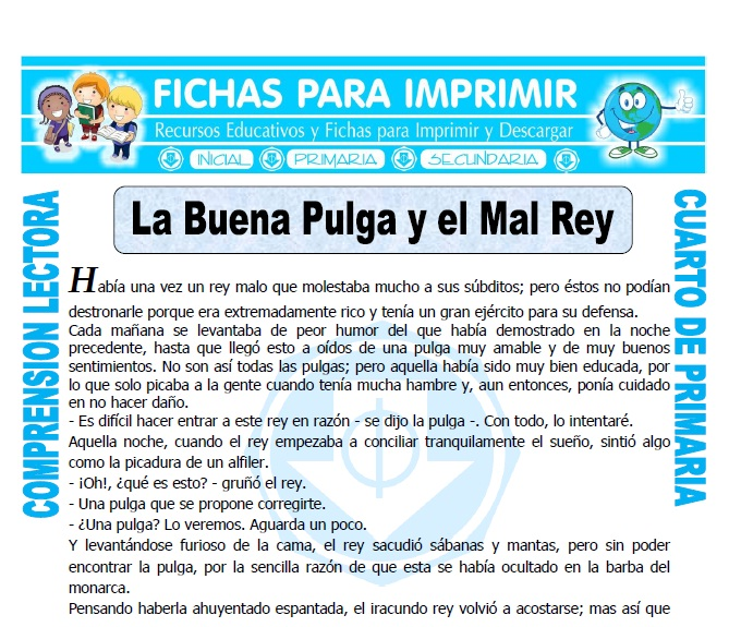 Ficha de La Buena Pulga y el Mal Rey para Cuarto de Primaria